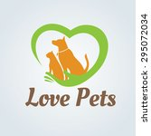 Stock vector love pets vector logo template 295072034