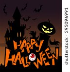 halloween greeting card with... | Shutterstock .eps vector #295096991
