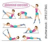 set of exercises. woman doing... | Shutterstock .eps vector #295117361