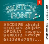 hand drawn sketch alphabet and... | Shutterstock .eps vector #295118585