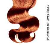 Small photo of Curly red hair over white
