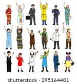 multiethnic group of children... | Shutterstock . vector #295164401