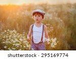 beautiful little boy in daisy... | Shutterstock . vector #295169774