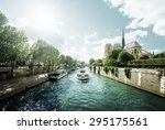 seine and notre dame de paris ... | Shutterstock . vector #295175561