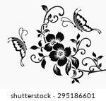 Flower Motif And Butterfly.
