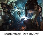 welding robots movement in a... | Shutterstock . vector #295187099