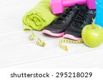 fitness equipment and healthy... | Shutterstock . vector #295218029