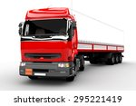 red and white transport truck... | Shutterstock . vector #295221419