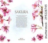 watercolor cherry blossom. hand ... | Shutterstock .eps vector #295228745
