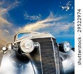 Vintage Car Against Striking...
