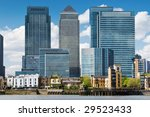 Canary Wharf Skyline.financial district, bank buildings at London, Dockland. - stock photo