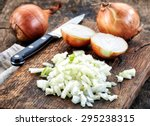 Chopped Onions On Wooden...