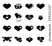 vector black hearts icons set... | Shutterstock .eps vector #295241237
