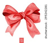 red gift bow. watercolor... | Shutterstock .eps vector #295242281