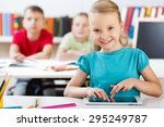 tablet  classroom  child. | Shutterstock . vector #295249787