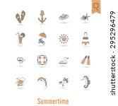 summer and beach simple flat... | Shutterstock .eps vector #295296479