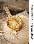 crispy homemade pizza on... | Shutterstock . vector #295303019