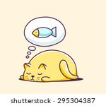 Stock vector vector illustration of color sleeping character cat on yellow background hand draw line art design 295304387