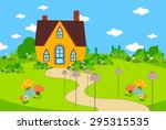 cute house bacground with... | Shutterstock . vector #295315535