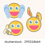 joyful cartoon smiley set | Shutterstock .eps vector #295318664