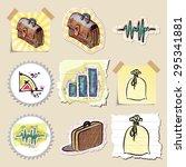 hand drawn finance emblems set. ... | Shutterstock .eps vector #295341881