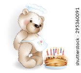 cook teddy bear with cake on... | Shutterstock .eps vector #295360091