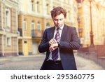 handsome mature caucasian... | Shutterstock . vector #295360775
