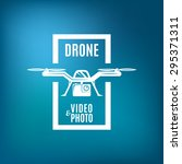 drone emblem on blue mesh...   Shutterstock .eps vector #295371311