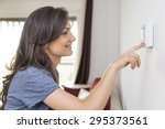 beautiful happy woman push... | Shutterstock . vector #295373561