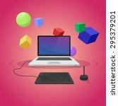 laptop and digital tablet... | Shutterstock .eps vector #295379201