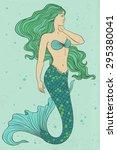 Beautiful Mermaid Color Vector...