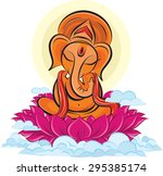 Lord Ganesha On Lotus  Color