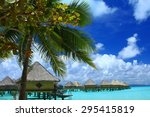 palm tree and water bungalows...   Shutterstock . vector #295415819