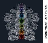 woman ornate silhouette sitting ... | Shutterstock .eps vector #295440521