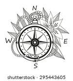 vintage compass with flowers... | Shutterstock .eps vector #295443605