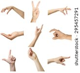 collage of  hands showing... | Shutterstock . vector #295457291