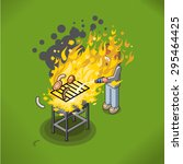 barbecue accident with fire ... | Shutterstock .eps vector #295464425