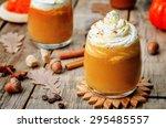 ice honey pumpkin spice latte... | Shutterstock . vector #295485557