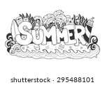 summer hand lettering and... | Shutterstock .eps vector #295488101