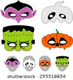 kids halloween masks set | Shutterstock .eps vector #295518854