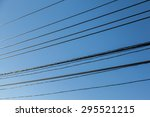electrical wire with blue sky... | Shutterstock . vector #295521215