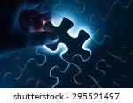 hand insert jigsaw  conceptual...   Shutterstock . vector #295521497