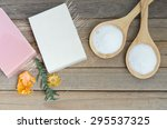 pink and white natural soap spa ... | Shutterstock . vector #295537325