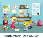 girls reading and writing in... | Shutterstock .eps vector #295539659
