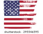 closeup of grunge american flag ... | Shutterstock . vector #295546595