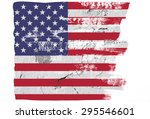 closeup of grunge american flag ... | Shutterstock . vector #295546601