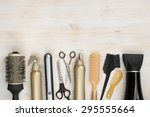 hairdressing tools on wooden... | Shutterstock . vector #295555664