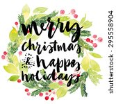 christmas card. watercolor... | Shutterstock .eps vector #295558904