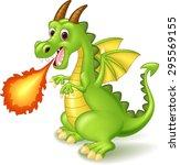 cartoon dragon posing with fire | Shutterstock .eps vector #295569155