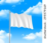 blank white flag waving on blue ... | Shutterstock .eps vector #295579169